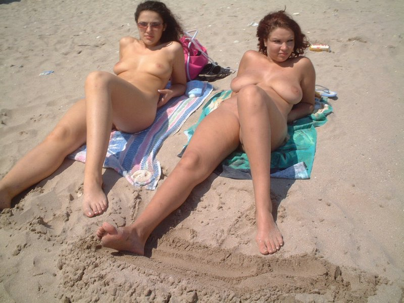 Two enchanting chicks at nudist beach with gorgeous firm breasts