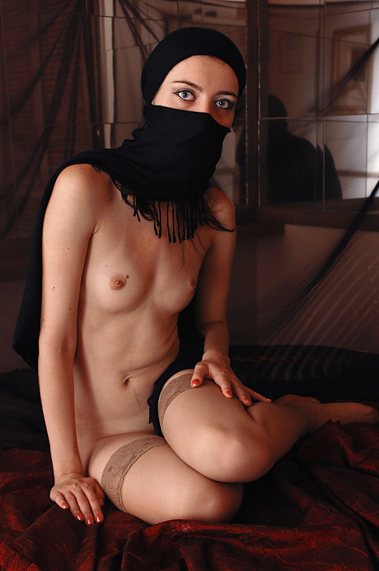 Muslim woman with uncovered body