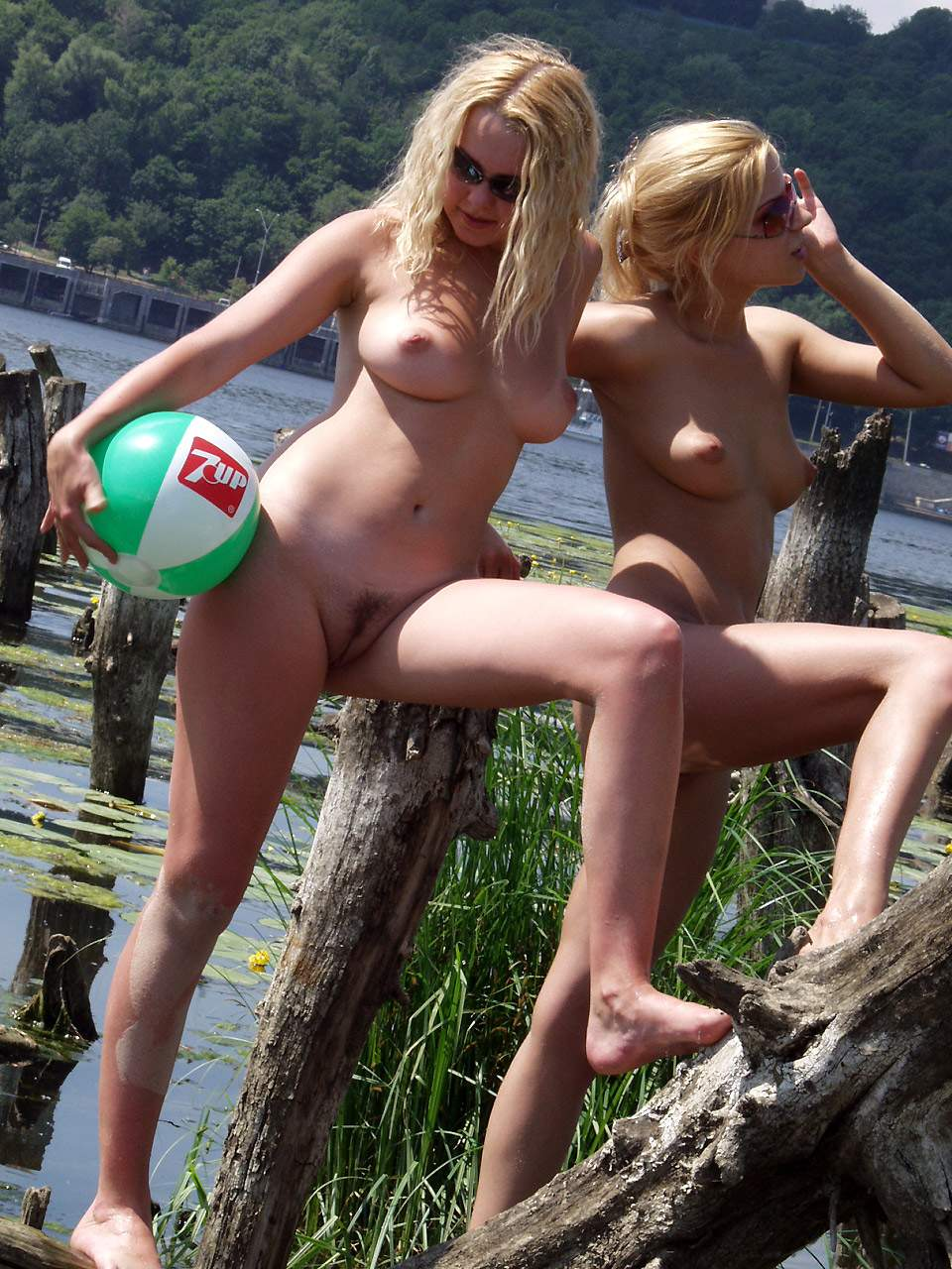 Blond beauties fully naked in nature