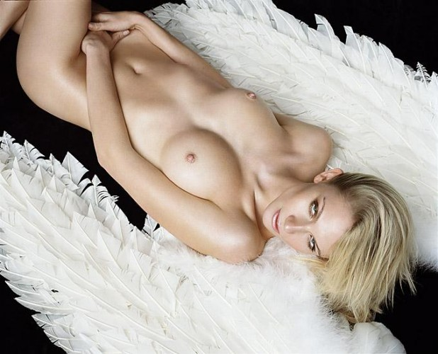 Short haired blonde naked with angels wings