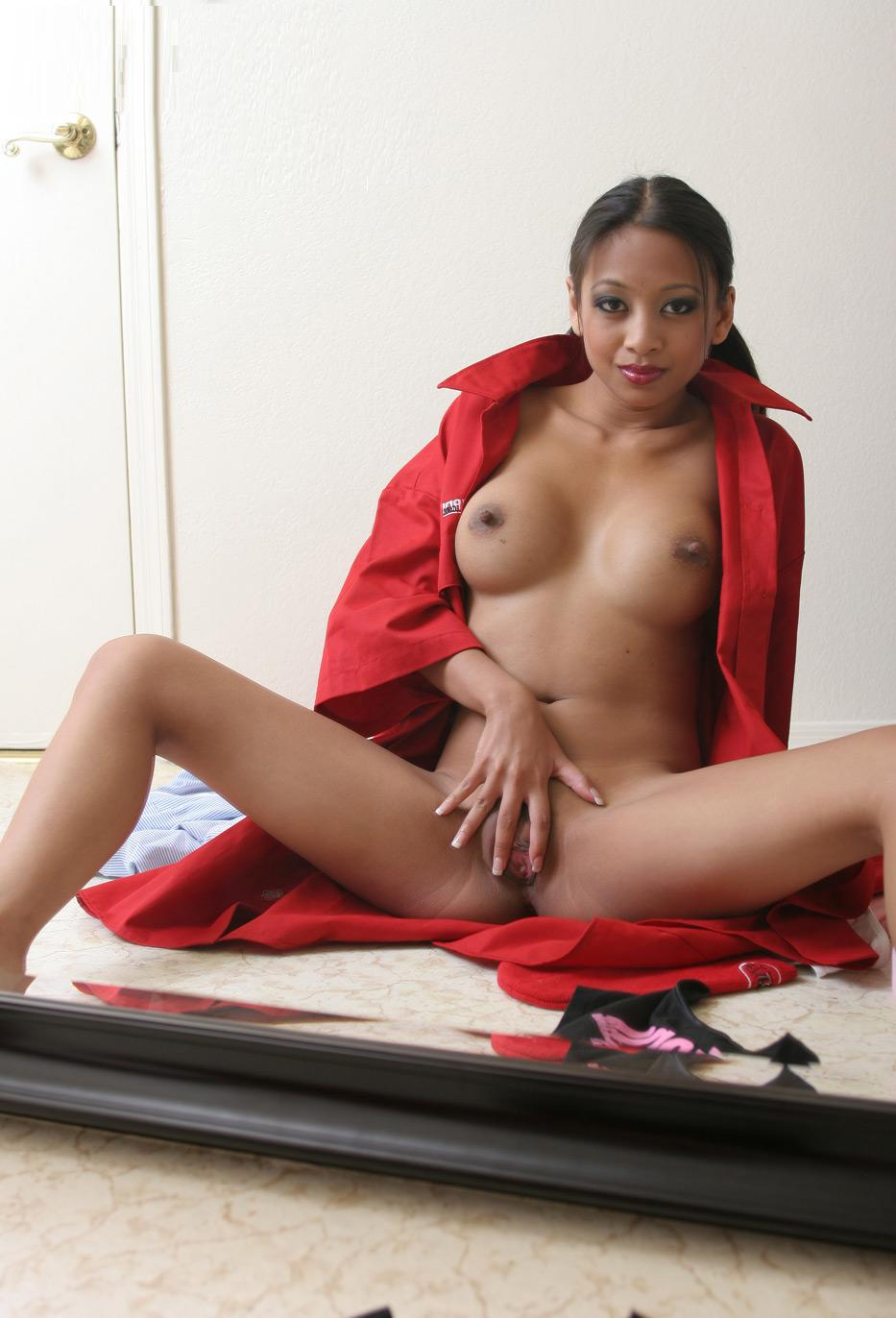 Very bad chick in red coat opens her pussy with fingers for intense pleasure