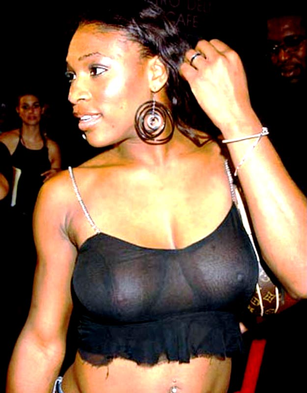 Busty Serena Williams with a black seethru blouse and huge earrings
